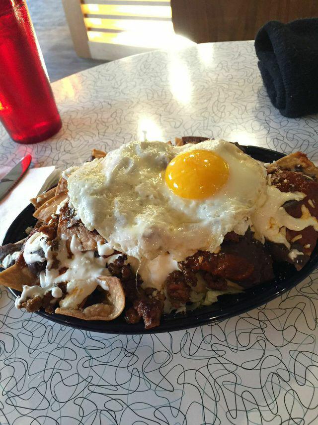 Breakfast Nachos with chorizo